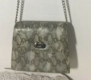 Vintage-OHH-ASHLEY-Snake-Skin-Design-Leather-Crossbody-Purse-Handbag