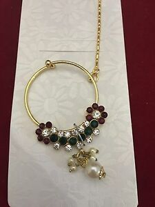 Bridal Nose Ring Chain Wedding Gold Nose Nath Non Pierced Indian