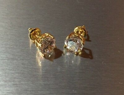 Mens Ladies 9.52 ct Lab Diamond 18K Gold Filled Screw Back Stud Earrings 12mm
