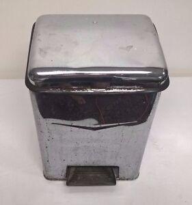 Vintage Chrome Metal Waste Basket Plastic Liner Foot Pedal Lid Ebay