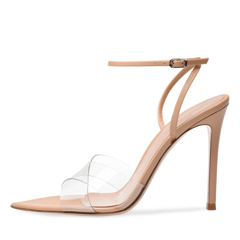 femmes Open Toe Pointy High Heel Sandals Ankle Strap PVC Stiletto Summer chaussures