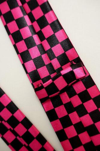 Punk kurze Länge Anlass NEU Gothic Krawatte- schwarz-pink kariert- Satin