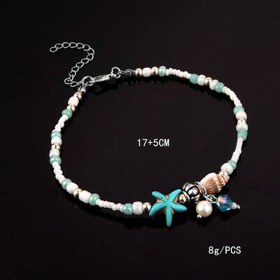 Jewelry & Watches Anklets Practical Silver Starfish Shells Bead Wht/turquoise Boho Chain Anklet Beach Holiday Sf1 Relieving Rheumatism And Cold
