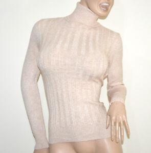 MAGLIONE-BEIGE-collo-alto-donna-manica-lunga-maglietta-dolcevita-pullover-G2