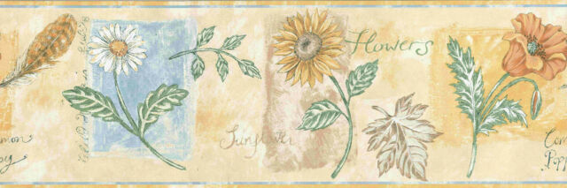 LAKE HOUSE WITH SUNFLOWERS  AND WATERING CAN GREEN  WALLPAPER BORDER  LM8945B