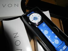 NEW AVON HAPPY HOLIDAY SNOWFLAKE WRIST WATCH LADIES BLUE BAND