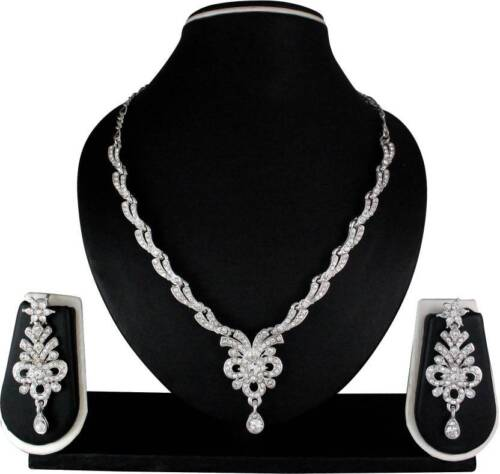 Indian Bollywood Fashion ton argent Collier Boucles D/'oreilles Party Jewelry Set Diamond