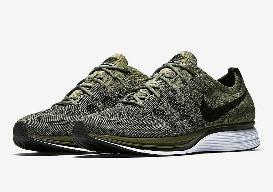 Nike Flyknit Trainer Mens Running shoes Medium Olive Black Size 9