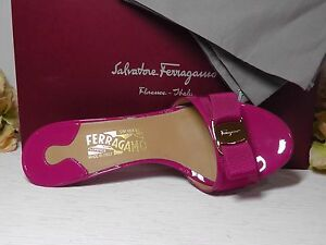 ed843a565 Image is loading Salvatore-Ferragamo-Agata-Rose-Patent-Leather-Glory-Bow-