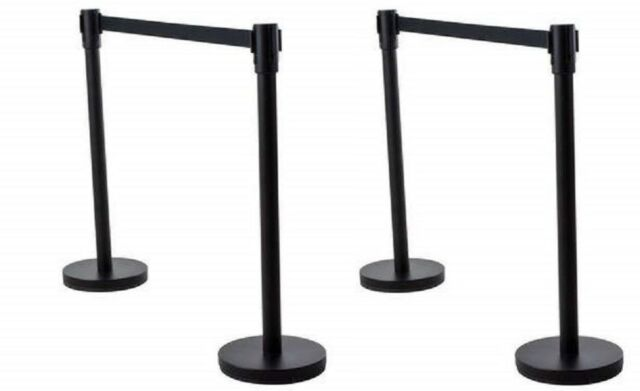 Stanchions For Sale >> 4 Pcs Retractable Stanchions Crowd Control Black Belt Posts Queue Barrier