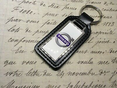 VOLVO Black Real Leather Keyring  Printed resin coated XC V 40 60 90 S 80