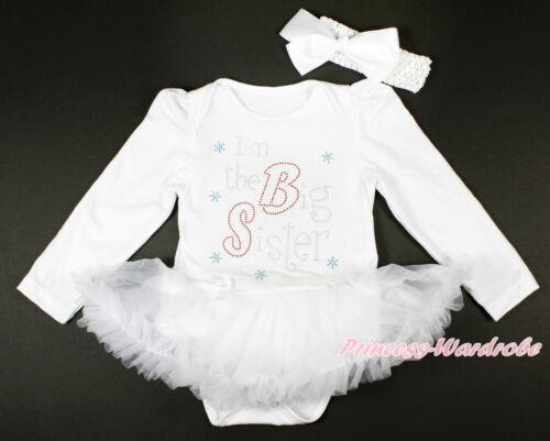Rhinestone Big Sister Black Long Sleeve Bodysuit Girl Clothing Baby Dress NB-18M