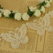 3 x Lace Butterfly Appliques for Sewing Wedding Cards Craft Ivory 65mm LC50