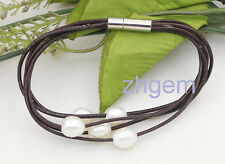 natural white drop pearl 8-9mm gem stone 5rows brown leather bracelet 7.5""
