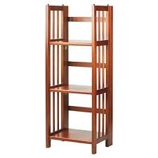 Casual Home 3 Shelf Folding Stackable Bookcase 14 Inch Wide Mahogany