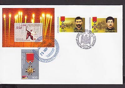 Nagorno Mountainous Karabakh Armenia 2015 Fdc Eroi Of Artsakh Order R17292 Strengthening Sinews And Bones Stamps