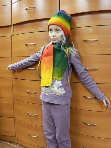 KIDS HAT SCARF SET RAINBOW 2T 3T 4T 5T HANDMADE IN EUROPE EXTRA FINE MERINO WOOL