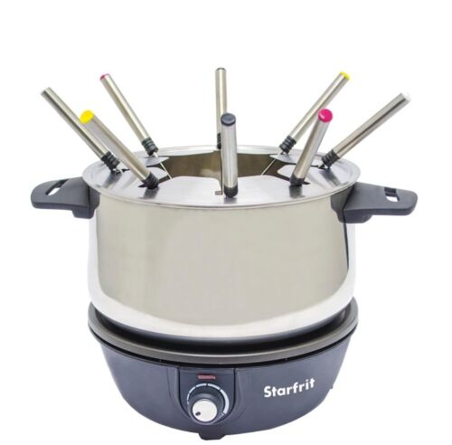 Starfrit Electric Stainless Fondue Set Black with 8 forks Adjustable Thermostat