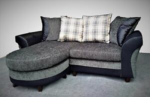 Beautiful Image Is Loading NEW 3 Seater Small Corner Sofa Grey Black