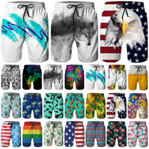 046099ae Mens Quickly Dry Summer Swim Trunks Surf 3D Funny Print Beachshorts ...