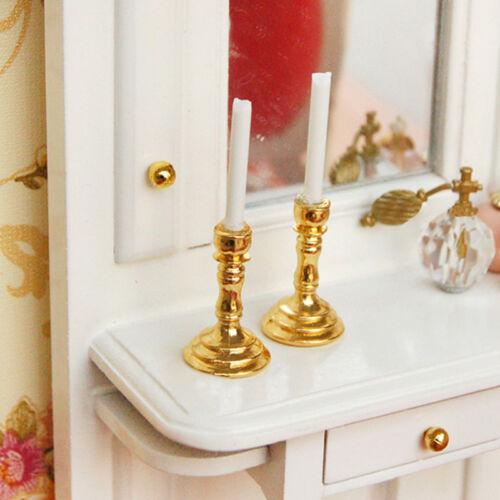 1Pair 1/12 Doll House Miniature Mini Candlesticks White Candles Accessories