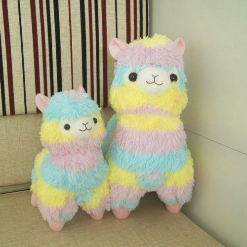 "Cute Alpaca Vicugna Pacos Arpakasso Alpacasso Soft Plush Doll Toy Rainbow 14/"""