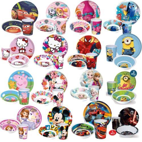 Baby Kinder Teller Becher  Schüssel Schale Frühstücksset   Melamin Disney