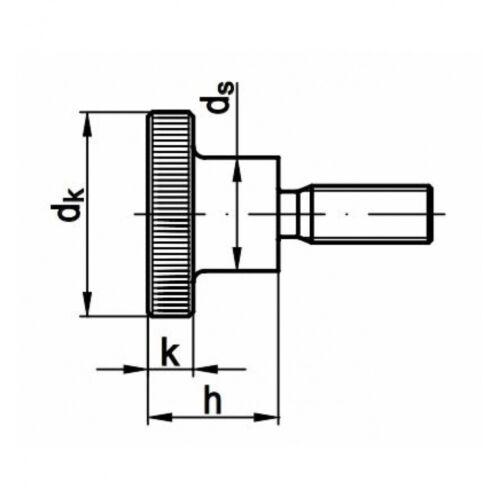 A1 blank hohe Form 25 x DIN 464 Rändelschrauben M 3 x 10