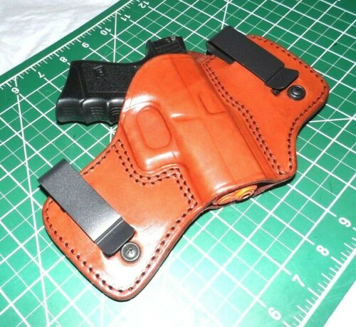Tagua DCH-307 RH Dual Clip Brown Leather IWB Holster Glock 42 380ACP No Laser