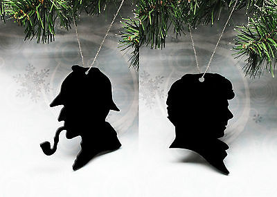 Sherlock Holmes Christmas Tree Ornament decoration silhouette black cameo
