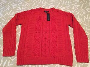 9e8daec6dce NWT BANANA REPUBLIC Women s Orange Cable Knit Italian Yarn Sweater ...