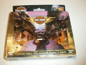 NEW Harley Davidson Motorcycles Collectible Tin  & 2 Sets Playing Cards Bicycle