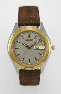 Seiko-Watch-Mens-Stainless-Steel-Silver-Gold-Day-Date-Leather-Brown-Gray-Quartz