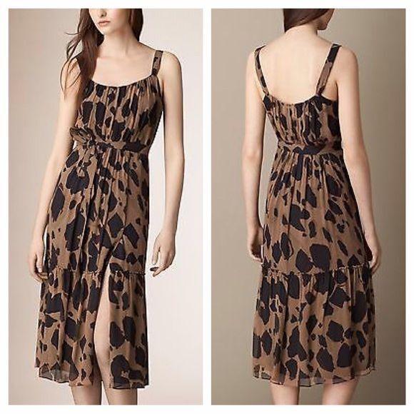 Burberry Brit Darcie Silk Sleeveless Belted Animal Print Dress 12 for sale  online  86145e8d2