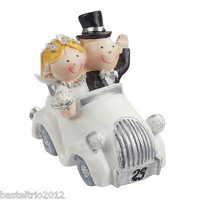 Silberpaar im Auto -Tortenaufsatz Hochzeitsfigur Silberhochzeit Hochzeit 7x4 cm