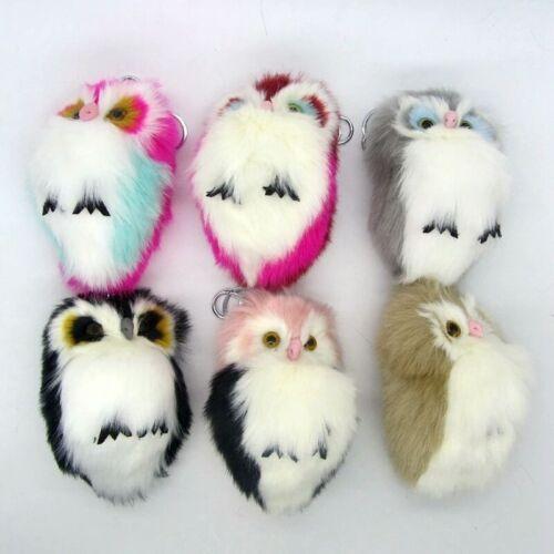 5.8x3.1/'/' Soft Faux Rabbit Fur Plush Bunny Fluffy Owl Woman Keychain Car Pompom