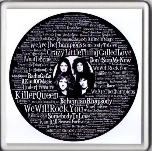 "Acrylic Beer Mat Drink Coaster Word Art Queen Song Titles 4/"" x 4/"" NEW"
