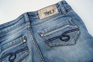 Take-Deux-Lucy-Femmes-Jeans-Stretch-Pantalon-26-30-W26-L30-Delave-Use-Dechirure