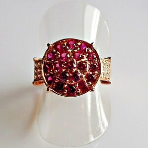 Handarbeit Pink Rubin Saphir Cocktail Ring 925 Silber Rotgold 17,8 mm 56