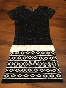 EUC-Planet-Gold-black-white-Sweater-dress-size-medium-10-12