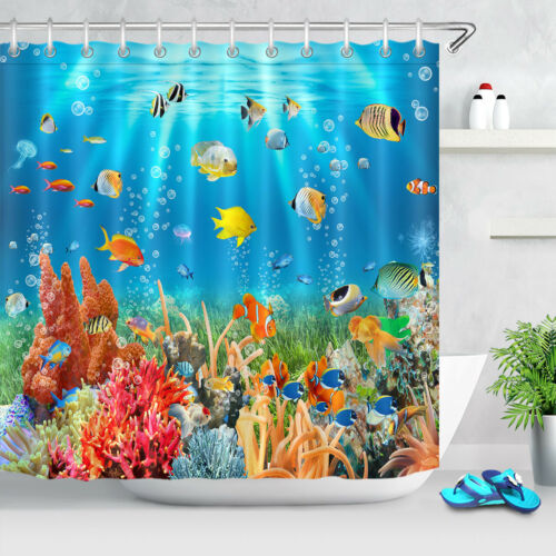 Colorful Sea Fishes Corals Ocean Lives Fabric Shower Curtain Set Bathroom Decor