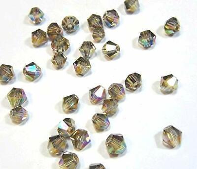 40 TSCHECHISCHE KRISTALL GLAS PERLEN 4mm GRAU BLACK DIAMOND DOPPELKEGEL X79