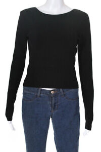 Ramy Brook Womens Lucas Sweater Black Lace Up Back Size Small