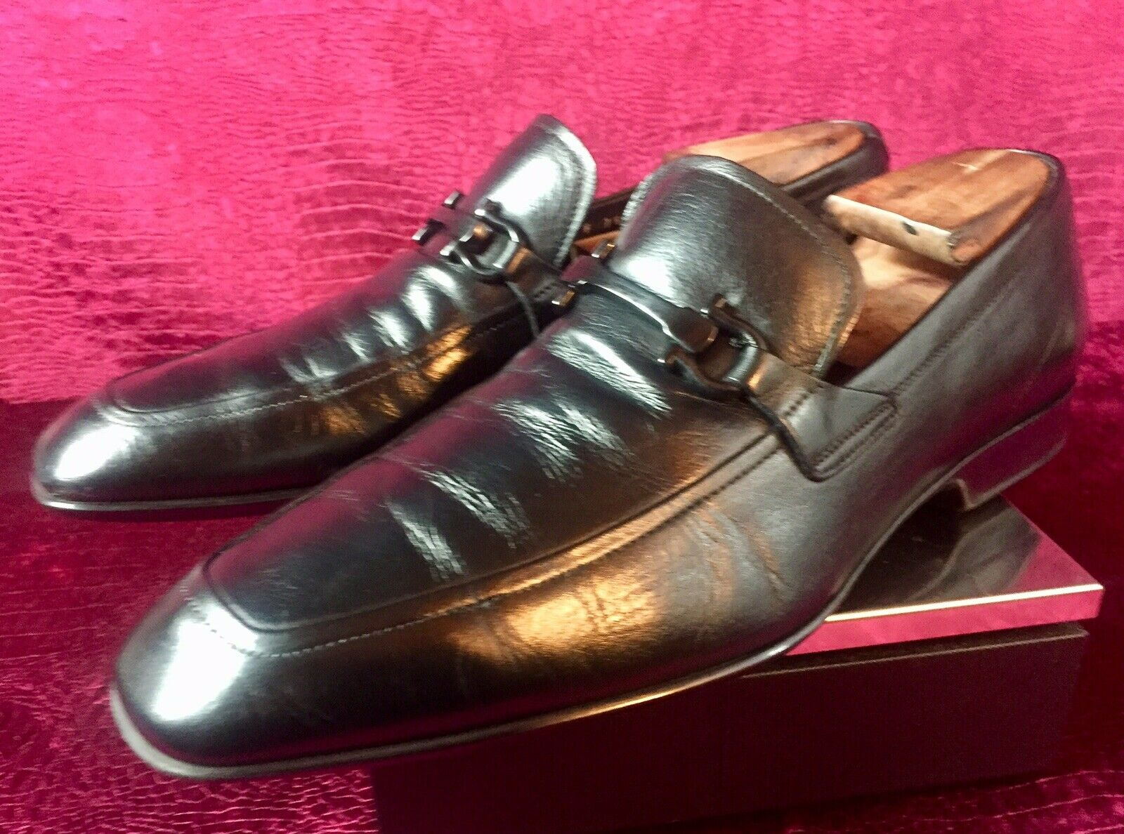 680.00 Mens Salvatore Ferragamo Black Leather Loafers Sz 11 US Made In ITALY
