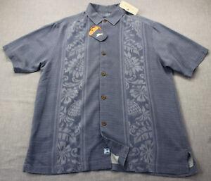 7e47da0caacf0 Details about TOMMY BAHAMA Men Chambray Blue Amazon Jacquard Floral 100% Silk  Shirt NWT S  128