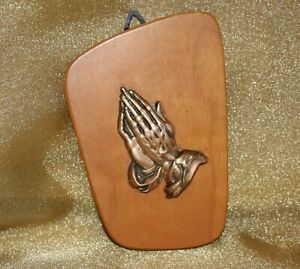Vintage Praying Hands Wood Wall Art Plaque West Germany Atomic Shape Design 3x4