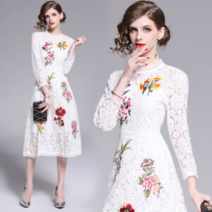 Elegant-Womens-Lace-Floral-Long-Dress-Long-Sleeve-Ball-Gown-Beach-White-Dresses