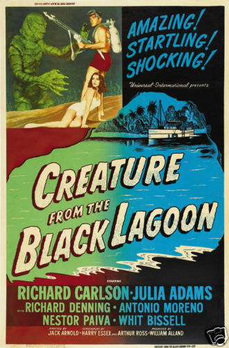 Creature from the black lagoon  cult horror movie poster print