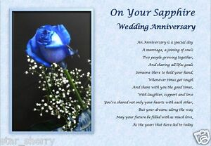 Sapphire Wedding Anniversary Personalised Poem