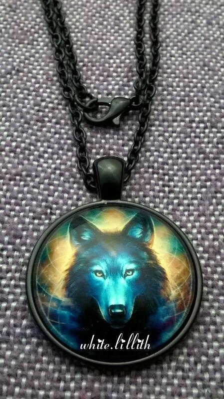 Lotus Wolf Glass Dome Pendant Black Colour Necklace Chain